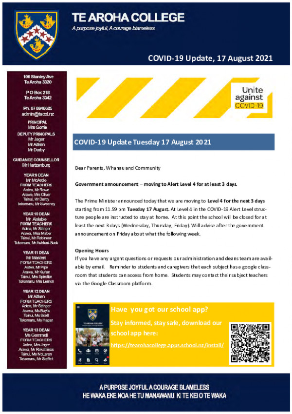 Covid 19 Update Tuesday 17 August Website